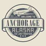 Stamp or tag with text Welcome to Anchorage, Alaska. Grunge rubber stamp or tag with text Welcome to Anchorage, Alaska, vector illustration Stock Image