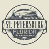 Stamp or tag with text Welcome to St. Petersburg, Florida. Grunge rubber stamp or tag with text Welcome to St. Petersburg, Florida, vector illustration Stock Photos
