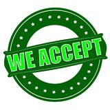We accept. Stamp with text we accept inside,  illustration Stock Images