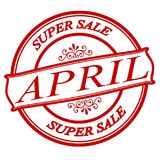 April super sale. Stamp with text April super sale inside, illustration stock illustration