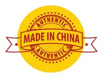Stamp with the text Authentic, Made in China Royalty Free Stock Images