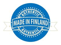 Stamp with the text Authentic, Made in Finland. Grunge rubber stamp with the text Authentic, Made in Finland written inside the stamp, vector illustration Stock Image