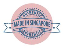 Stamp with the text Authentic, Made in Singapore Stock Photography