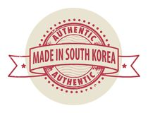 Stamp with the text Authentic, Made in South Korea Royalty Free Stock Photography