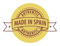 Stamp with the text Authentic, Made in Spain Stock Images