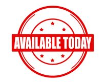 Available today. Stamp with text available today inside,  illustration Royalty Free Stock Image