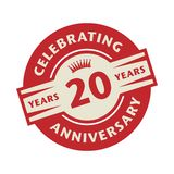 Stamp with the text Celebrating 20 years anniversary. Stamp or label with the text Celebrating 20 years anniversary, vector illustration stock illustration