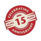 Stamp with the text Celebrating 15 years anniversary. Stamp or label with the text Celebrating 15 years anniversary, vector illustration stock illustration
