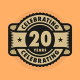 Stamp with the text Celebrating 20 years anniversary. Stamp or label with the text Celebrating 20 years anniversary, vector illustration vector illustration