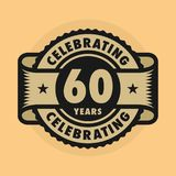 Stamp with the text Celebrating 60 years anniversary. Stamp or label with the text Celebrating 60 years anniversary, vector illustration vector illustration