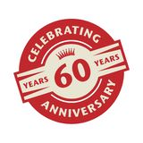 Stamp with the text Celebrating 60 years anniversary. Stamp or label with the text Celebrating 60 years anniversary, vector illustration stock illustration