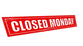Closed monday. Stamp with text closed monday inside,  illustration Stock Images