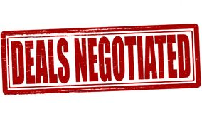 Deals negotiated. Stamp with text deals negotiated inside,  illustration Stock Photos