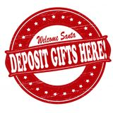 Deposit gifts here. Stamp with text deposit gifts here inside,  illustration Stock Photo