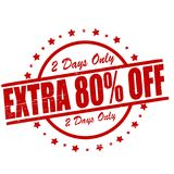 Extra eighty percent off. Stamp with text extra eighty percent off inside, illustration stock illustration