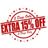 Extra fifteen percent off. Stamp with text extra fifteen percent off inside, ilustration royalty free illustration
