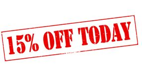 Fifteen percent off today. Stamp with text fifteen percent off today inside,  illustration Royalty Free Stock Images