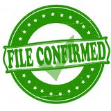 File confirmed. Stamp with text file confirmed inside,  illustration Stock Photography