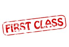 First class. Stamp with text first class inside,  illustration Royalty Free Stock Photography
