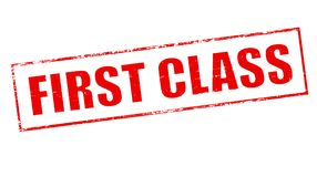 First class. Stamp with text first class inside,  illustration Stock Photos