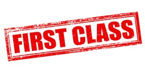 First class. Stamp with text first class inside,  illustration Stock Image