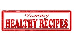 Healthy recipes. Stamp with text healthy recipes inside,  illustration Stock Photography