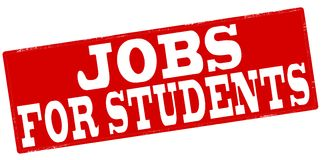 Jobs for students. Stamp with text job for students inside,  illustration Stock Photos