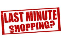Last minute shopping. Stamp with text last minute shopping inside,  illustration Royalty Free Stock Photography