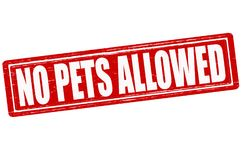 No pets allowed. Stamp with text no pets allowed inside, illustration Royalty Free Stock Photo