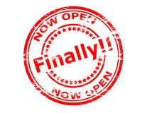 Now open finally. Stamp with text now open finally inside,  illustration Royalty Free Stock Photo