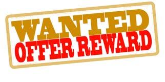 Offer reward. Stamp with text offer reward inside,  illustration Stock Photo