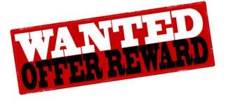 Offer reward. Stamp with text offer reward inside,  illustration Stock Images