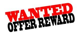 Offer reward. Stamp with text offer reward inside,  illustration Stock Photography
