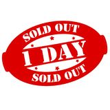 One day sold out. Stamp with text one day sold out inside,  illustration Royalty Free Stock Photo