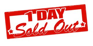 One day sold out. Stamp with text one day sold out inside,  illustration Royalty Free Stock Images