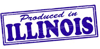 Produced in Illinois. Stamp with text produced in Illinois inside,  illustration Stock Photo