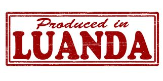 Produced in  Luanda. Stamp with text produced in Luanda inside,  illustration Stock Photography