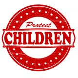 Protect children. Stamp with text protect children inside,  illustration Stock Photos
