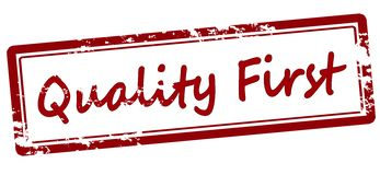 Quality first. Stamp with text quality first inside,  illustration Royalty Free Stock Images
