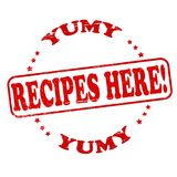 Recipes here. Stamp with text recipes here  inside,  illustration Stock Photography