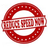Reduce speed now. Stamp with text reduce speed now inside,  illustration Stock Image