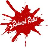 Reduced rates. Stamp with text reduced rates inside, illustration stock illustration