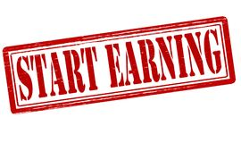 Start earning. Stamp with text start earning inside,  illustration Royalty Free Stock Photography