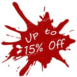 Up to fifteen percent off. Stamp with text up to fifteen percent off inside,  illustration Royalty Free Stock Photography