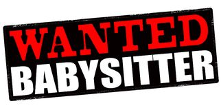 Wanted babysitter. Stamp with text wanted babysitter inside,  illustration Stock Photography