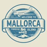 Stamp with the text Welcome to Mallorca, Paradise island. Stamp or label with the text Welcome to Mallorca, Paradise island, vector illustration Stock Photos