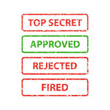 Stamp top secret, approved, rejected and fired. Design element  illustration Royalty Free Stock Image