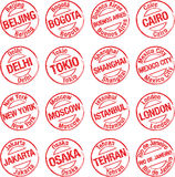 Stamp towns. Rubber stamps with the names of mega cities Royalty Free Stock Image