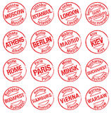 Stamp towns europe Royalty Free Stock Photos