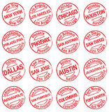 Stamp towns USA Stock Photos